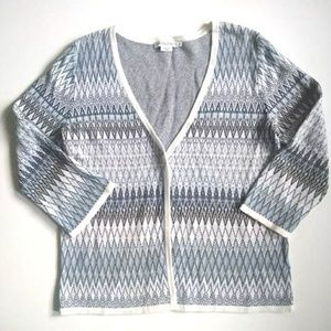 Pendleton Blue White Diamond Linen Cardigan - S